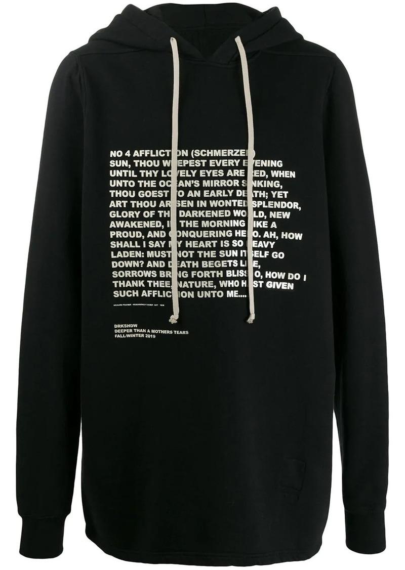 Rick Owens quote print hoodie