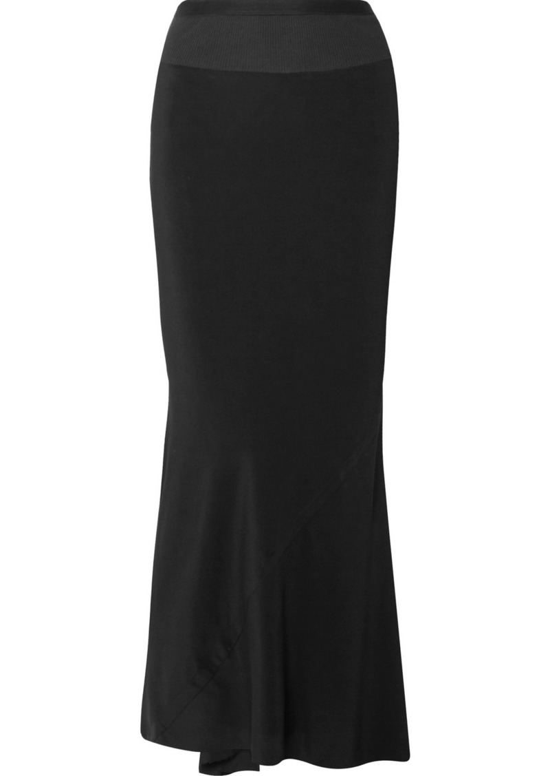 Rick Owens Ribbed Knit-trimmed Crepe De Chine Maxi Skirt