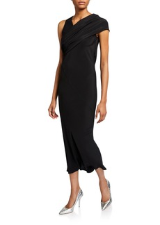 Rick Owens Asymmetric Draped Fitted Midi Dress
