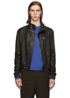 Rick Owens Black Leather IES Bomber Jacket