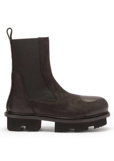 Rick Owens Bozo Megatooth scratched-leather Chelsea boots