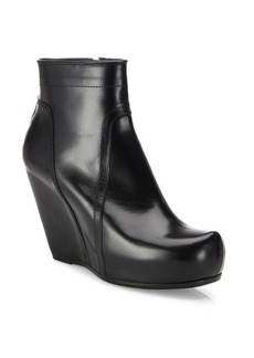 Rick Owens Classic Leather Wedge Platform Booties