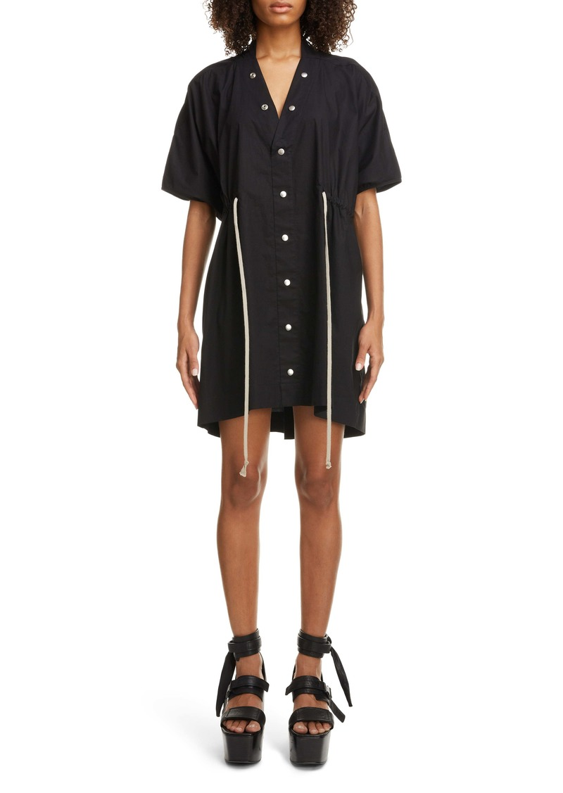 Rick Owens Drawstring Waist Cotton Poplin Dress