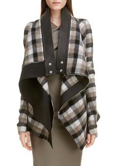 Rick Owens Exploder Check Drape Wool Jacket