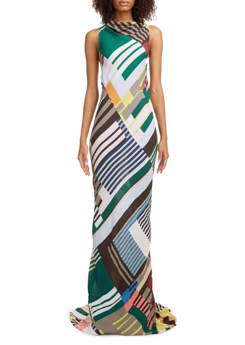 Rick Owens Geo Print Back Cutout Column Gown