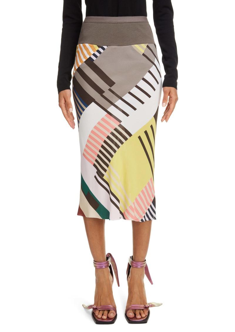 Rick Owens Geo Print Crepe Pencil Skirt