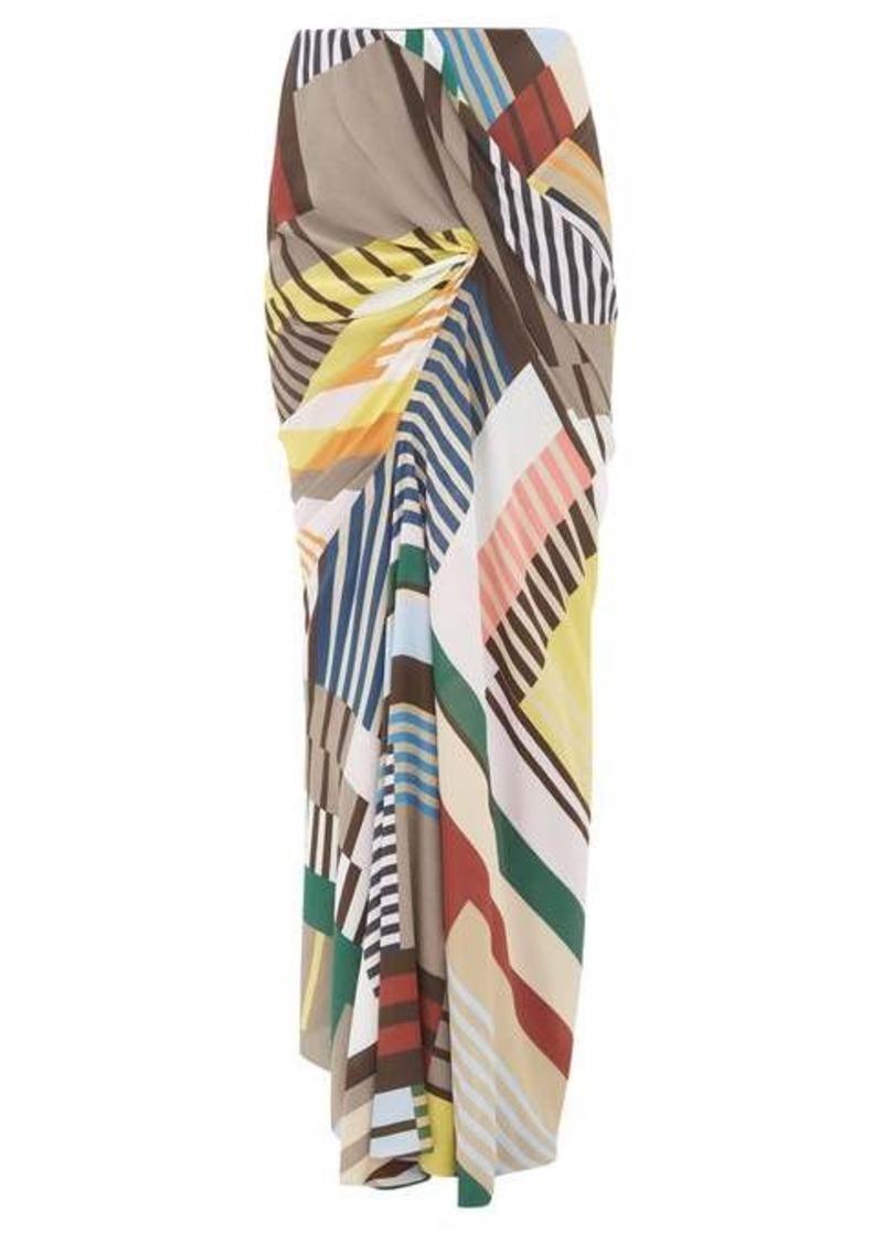 Rick Owens Geometric-print ruched crepe maxi skirt