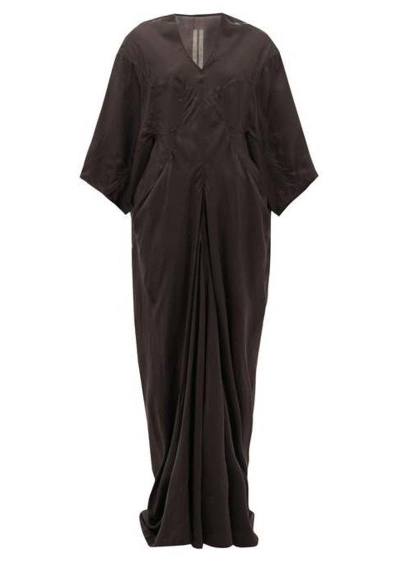 Rick Owens Larry wide-sleeve V-neck taffeta dress