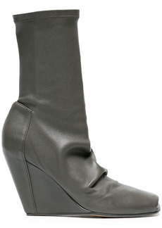 Rick Owens Grey Open Toe Wedge 80 Leather boots