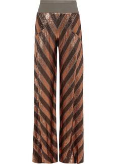 Rick Owens Lilies Woman Burnout Metallic Striped Stretch-knit Wide-leg Pants Copper