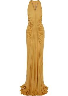Rick Owens Lilies Woman Draped Jersey Gown Mustard