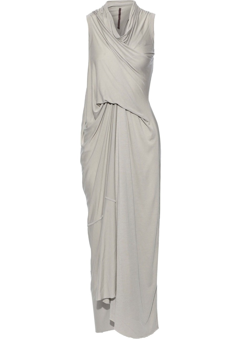 Rick Owens Lilies Woman Draped Jersey Maxi Dress Stone