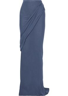 Rick Owens Lilies Woman Draped Jersey Maxi Skirt Slate Blue
