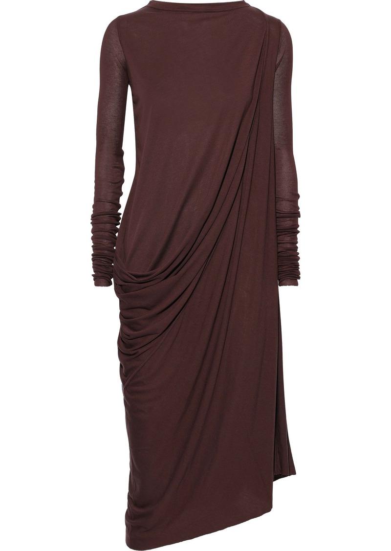 Rick Owens Lilies Woman Draped Jersey Midi Dress Burgundy