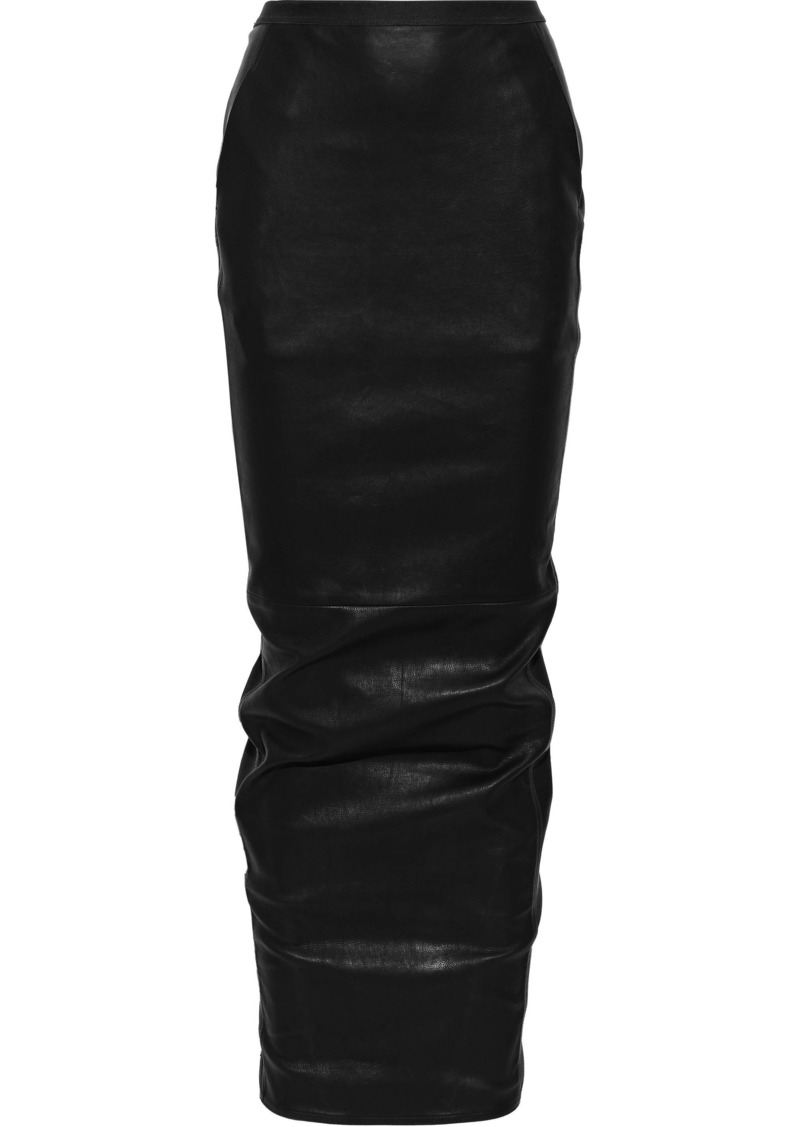 Rick Owens Lilies Woman Leather Maxi Skirt Black