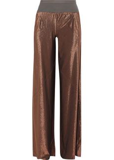 Rick Owens Lilies Woman Metallic Stretch-knit Wide-leg Pants Copper