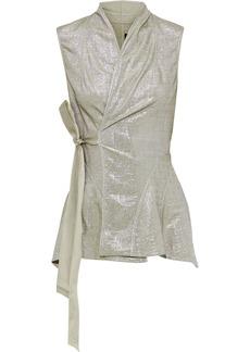 Rick Owens Lilies Woman Metallic Stretch-knit Wrap Vest Silver