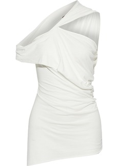 Rick Owens Lilies Woman Off-the-shoulder Twist-front Draped Jersey Top Ivory