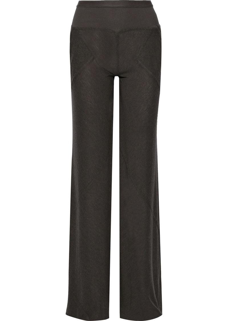 Rick Owens Lilies Woman Paneled Brushed-jersey Wide-leg Pants Gray