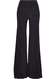 Rick Owens Lilies Woman Ribbed Knit-paneled Jersey Wide-leg Pant Black