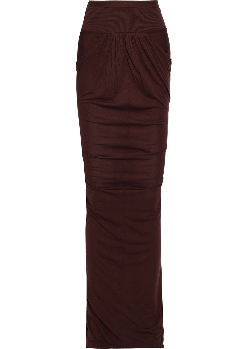 Rick Owens Lilies Woman Asymmetric Ribbed Knit-paneled Jersey Skirt Burgundy