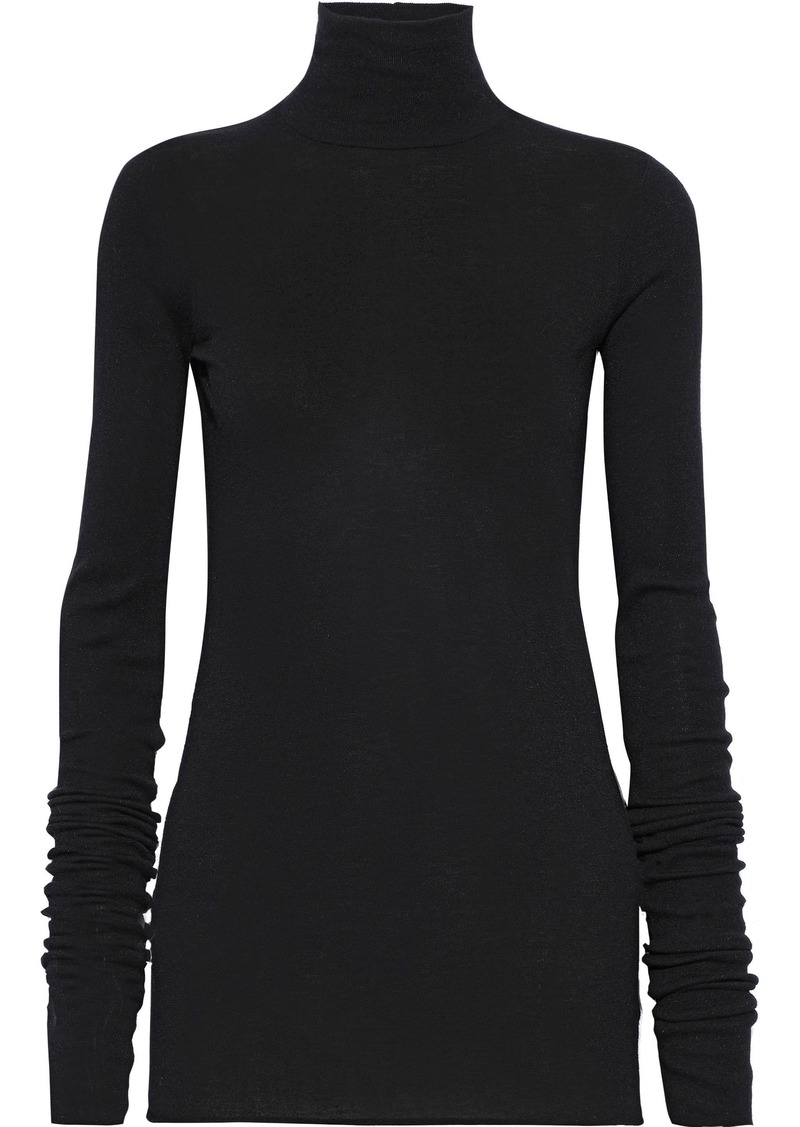 Rick Owens Lilies Woman Ribbed-knit Turtleneck Top Black