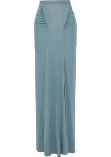 Rick Owens Lilies Woman Ruched Jersey Maxi Skirt Teal