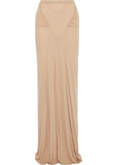 Rick Owens Lilies Woman Ruched Jersey Maxi Skirt Neutral