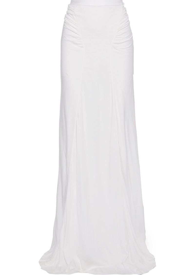 Rick Owens Lilies Woman Ruched Jersey Maxi Skirt White