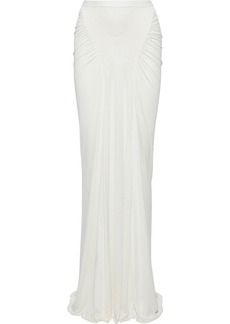 Rick Owens Lilies Woman Ruched Silk-jersey Maxi Skirt Ivory