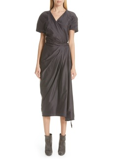 Rick Owens Limo Cotton & Silk Wrap Dress