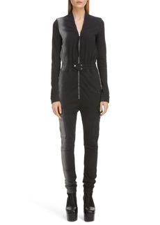 Rick Owens Long Sleeve Denim Cargo Jumpsuit