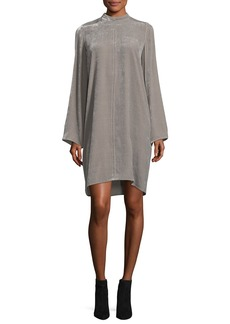 Rick Owens Long-Sleeve High-Neck Velvet Tunic Dress