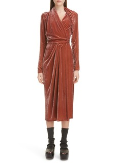 Rick Owens Long Sleeve Velvet Midi Wrap Dress
