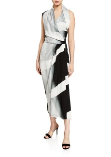 Rick Owens Ombre Geometric Wrap Dress
