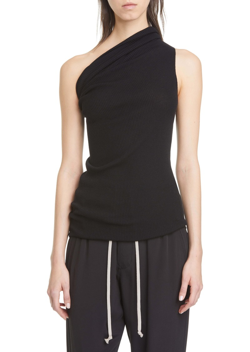 Rick Owens One-Shoulder Ribbed Wool Tank