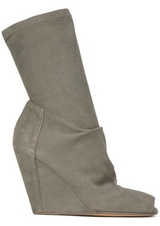 Rick Owens open-toe wedge ankle boots - Green