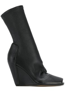 Rick Owens open toe wedge booties - Black