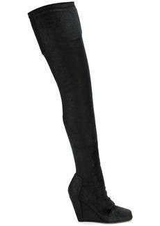 Rick Owens over-the-knee wedge booties - Black