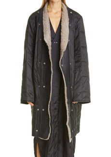 Rick Owens Quilted Coat with Removable Leather & Genuine Shearling Trim