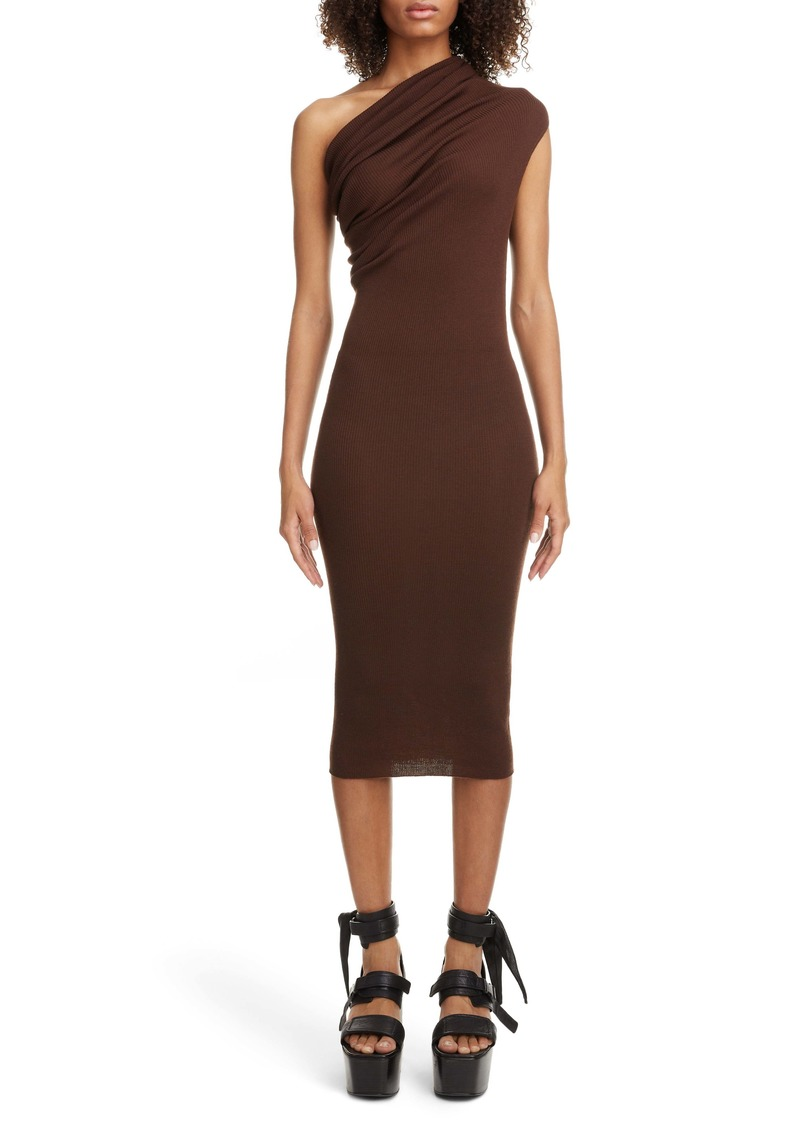 Rick Owens Rib One-Shoulder Midi Sweater Dress