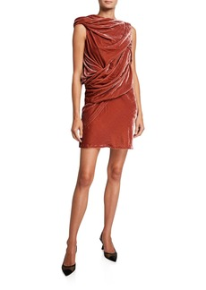 Rick Owens Rose Velvet Draped Dress