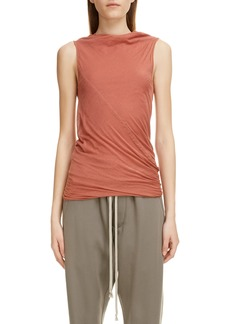 Rick Owens Ruched Funnel Neck Sleeveless Top