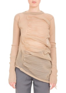 Rick Owens Ruched-Side Crewneck Top