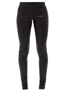 Rick Owens Slim-fit bonded-leather trousers