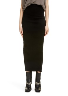 Rick Owens Slit Back Tube Midi Skirt