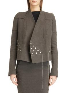 Rick Owens Snap Button Camel Hair & Linen Jacket
