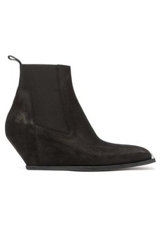 Rick Owens Square-toe suede wedge boots