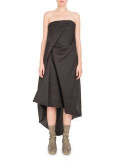 Rick Owens Strapless Draped Midi Dress
