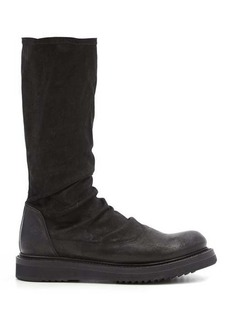 Rick Owens Stretch-suede and leather mid-calf boots
